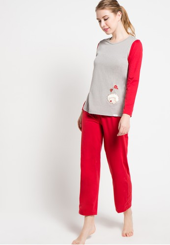 Puppy red Long Sleeve Long Pants Aplikasi Weasel PU643AA93XFEID_1