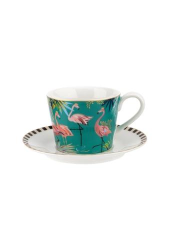 Sara Miller green Sara Miller London - Flamingo Teacup & Saucer (SMTF78924-XG) 66596HLE87B7BAGS_1