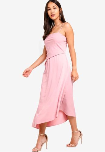 ZALORA 粉紅色 細肩帶洋裝 4846EAA799F321GS_1