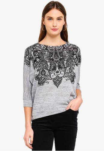 OVS grey Diamante Stretch Printed T-Shirt 88035AAB68CC8BGS_1