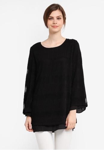 TOPGIRL black Premium Lace Blouse TO597AA0SJPXMY_1