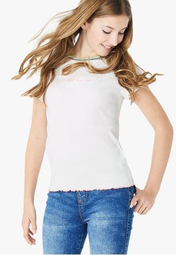 MARKS & SPENCER white Cotton Rich Ribbed T-Shirt CB0E5KA996F6C5GS_1