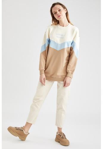DeFacto brown Round Neck Sweatshirt 2D208AA35986EAGS_1