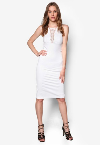 交叉帶zalora 手錶貼身連身裙, 服飾, 洋裝