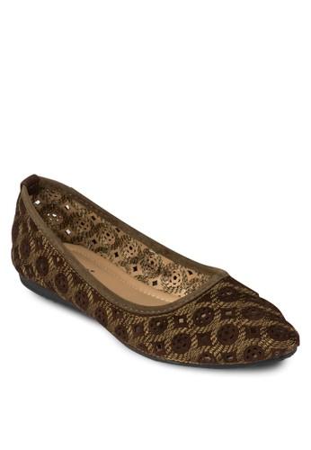 雕花鏤空平底鞋, 女鞋, 芭蕾平底zalora 評價鞋
