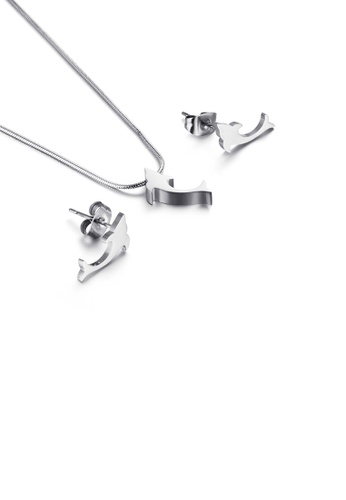 Glamorousky silver Simple and Exquisite Dolphin 316L Stainless Steel Necklace and Stud Earrings Set 93CF3AC46D0101GS_1