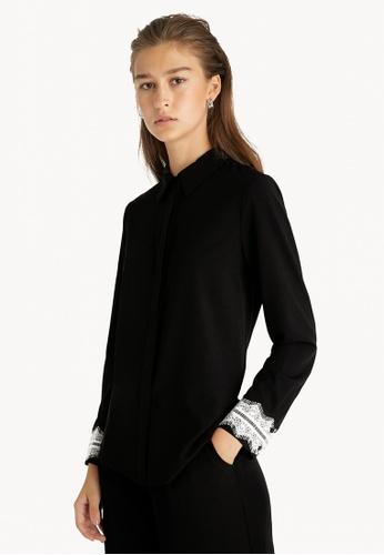 Pomelo black Lace Accent Cuff Button Up Shirt - Black 0D026AA379A294GS_1
