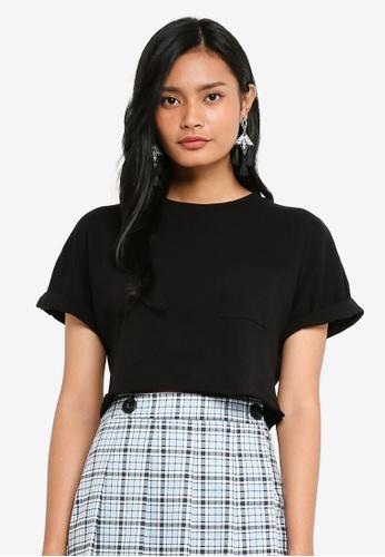 TOPSHOP black Cut Off Crop T-Shirt 95687AAA2EAC5EGS_1