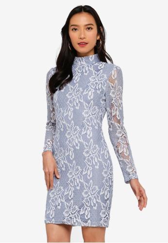 MISSGUIDED 藍色 蕾絲高領長袖短洋裝 D4718AA6A3CA0DGS_1