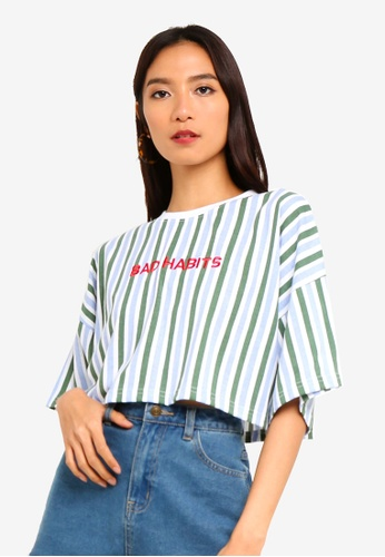 85054dc657c7b Buy MISSGUIDED Bad Habits Slogan Stripe Crop Top Online on ZALORA Singapore