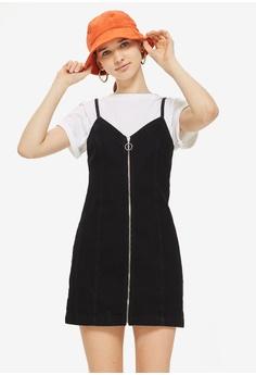 2818f09f5d45 TOPSHOP black Zip Through Denim Dress 91D70AADB530B4GS 1