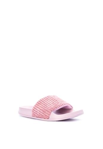 Penshoppe pink Corduroy Sliders 2C67BSH0EA4945GS_1