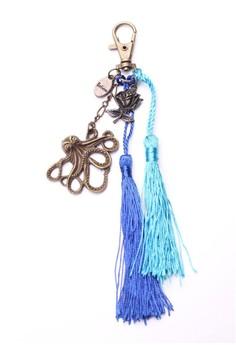 Believe Octopus Rose Tassel Bag Charm Key Chain