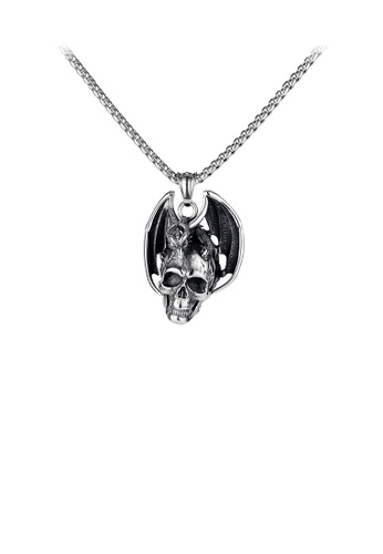 Glamorousky silver Fashion Personality Skull Pterosaur 316L Stainless Steel Pendant with Necklace 2EA7DACE106E9EGS_1