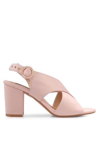 ZALORA pink Cross Strap Chunky Heels E2885SH357D381GS_1