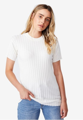 Cotton On white Sustain Me Variegated Rib T-Shirt 5F63DAA7206A8EGS_1