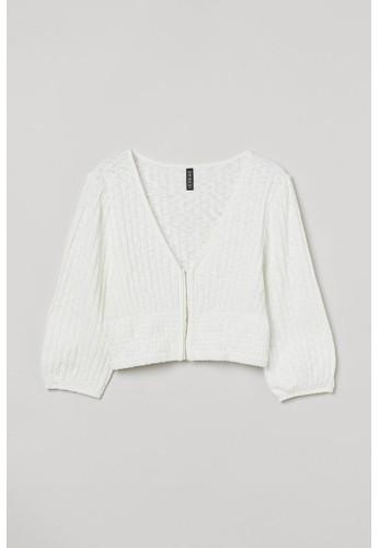 H&M white Cropped top DF519AA39E0D72GS_1