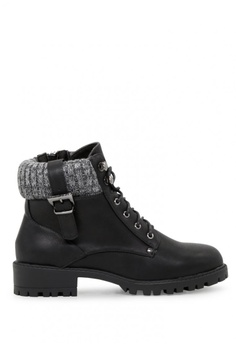 dc6846b6d5b London Rag black Lace Up Ankle Boots With Wool Collar SH1720  C20B0SHE513937GS 1