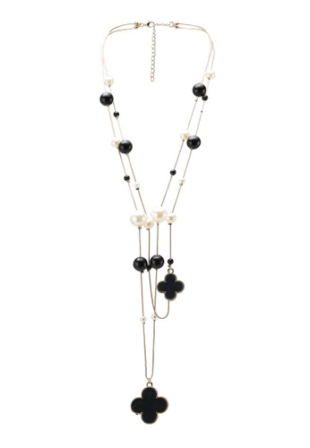 Red's Revenge black Black & White Pearl Layered Necklace RE144AC71IUEMY_1