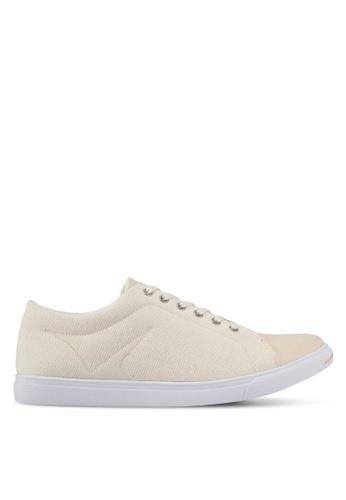 ZALORA beige Mixed Material Canvas Sneakers B675ESH08950AFGS_1