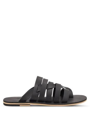 ZALORA black Faux Leather Multi Strap Sandals 20D1BSH1D9F285GS_1