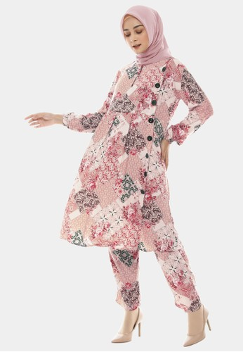 COTTON BEE pink Set Tunic Ethnic Batik Tunik Dewasa - LadyPink AD45CAA351D8C2GS_1