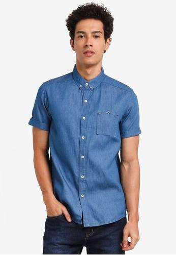 Penshoppe blue Pocketed Chambray Short Sleeve Shirt F9367AA50186F0GS_1