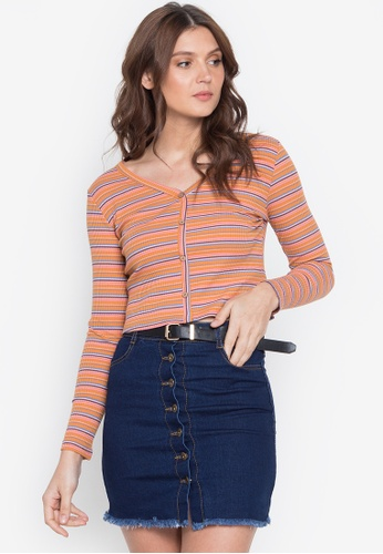 Monvelli orange Long Sleeves V-Neck Full-Button Knitted Crop Top 79A3FAA7B8BAD9GS_1