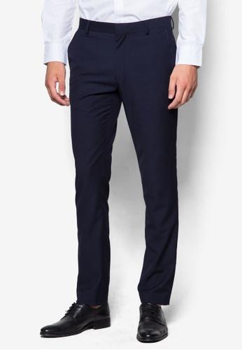 Topman 藍色 暗紋窄管西裝長褲 TO413AA53UNAMY_1