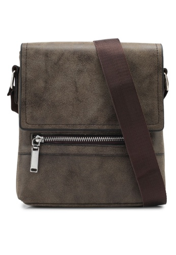 ZALORA brown Small Mens Shoulder Bag With Zip Front Detail E6F11ZZ8EB622CGS_1