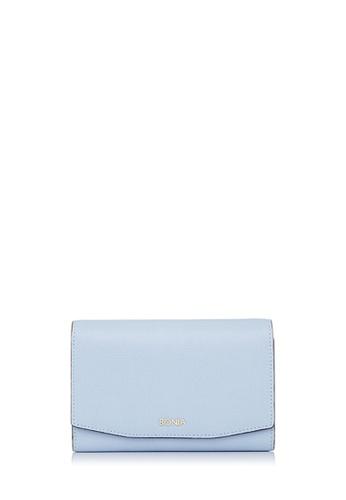 BONIA blue Light Blue Raffia Twist Three Fold Wallet 8F78FAC67DC3E6GS_1