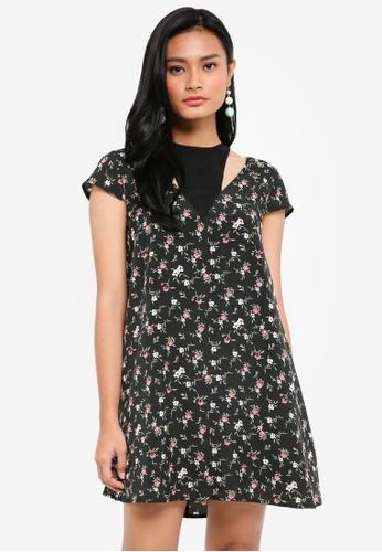 Something Borrowed black Cap Sleeve Cut Out Swing Dress 019BFAAFEF9CE8GS_1