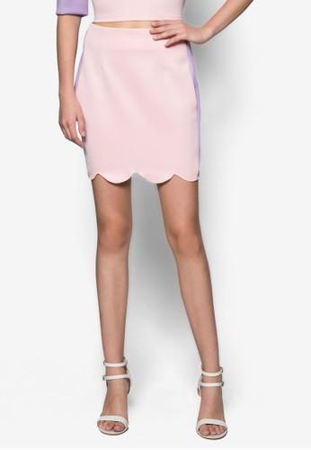 拼色扇貝邊飾短esprit 西裝裙, 服飾, 清新俏皮