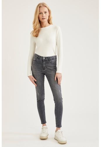 DeFacto grey High Waist Skinny Jeans 7E339AA61BAE38GS_1
