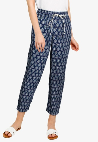 Springfield blue Floaty Printed Trousers E5A4DAA05C8CC6GS_1