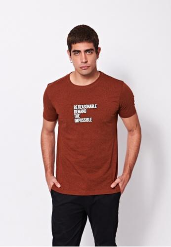 Sisley brown Printed T-shirt B64BDAAC4AB125GS_1