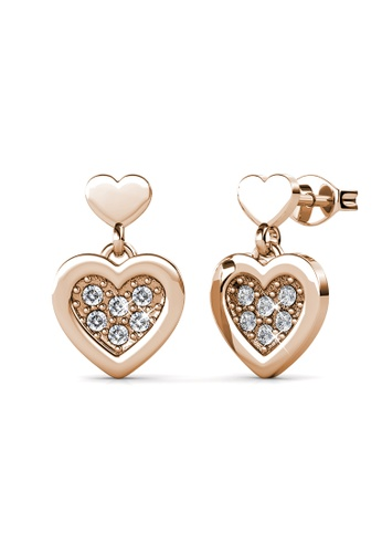 Her Jewellery gold Larine Love Earrings (Rose Gold) -  Embellished with Crystals from Swarovski® F6B9FACACB7C27GS_1