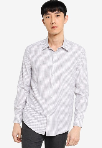 ZALORA BASICS grey Slim Fit Checked Shirt F0606AAE63E5E3GS_1