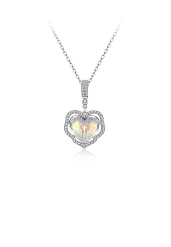 Glamorousky white 925 Sterling Silver Fashion Elegant Heart Pendant with Austrian Element Crystal and Necklace F16DDAC6B3A6D9GS_1