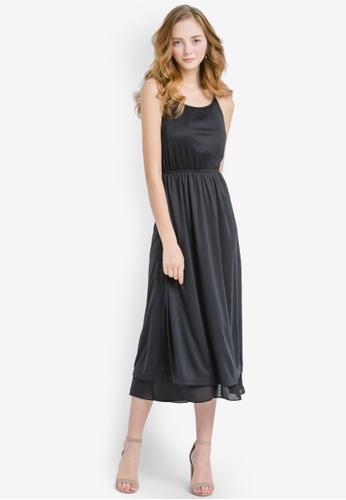 YOCO black Laced Midi Dress With Back Cut-Out YO696AA0S1D7MY_1