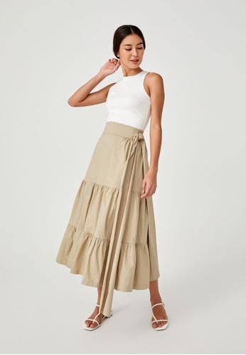 Love, Bonito brown Jennika Side Tie Wrap Skirt C75F3AAF05E9FEGS_1