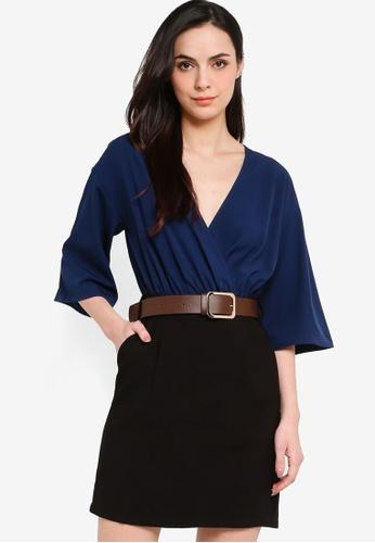 ZALORA WORK multi Kimono Sleeve Mini Dress With Belt 27251AAD60275FGS_1