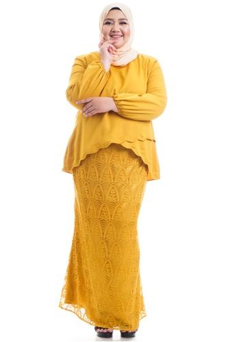 Ashura yellow Naresha Kurung With Layered Scallop Plus Size 24676AA23017FFGS_1