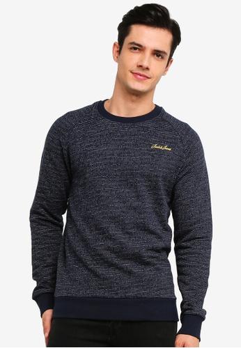 Jack & Jones 海軍藍色 Hide 圓領Sweater 01CB8AAB0AD8FEGS_1
