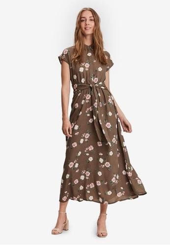 Vero Moda 褐色 Tallie Short Sleeve Tie Dress 4412BAA73B8648GS_1