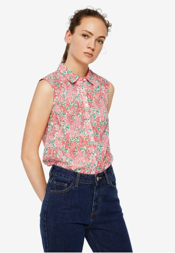 Mango pink Floral Print Blouse B8BBCAABA7D5E0GS_1