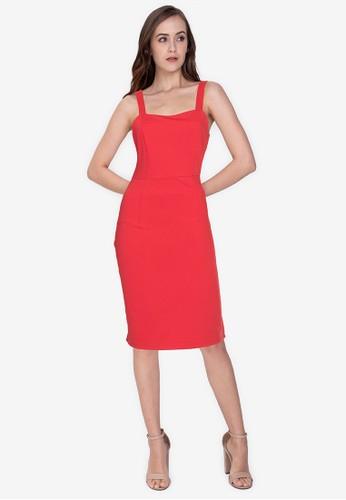 ZALORA WORK orange Square Neck Bodycon Dress CE672AAB4F6CF1GS_1