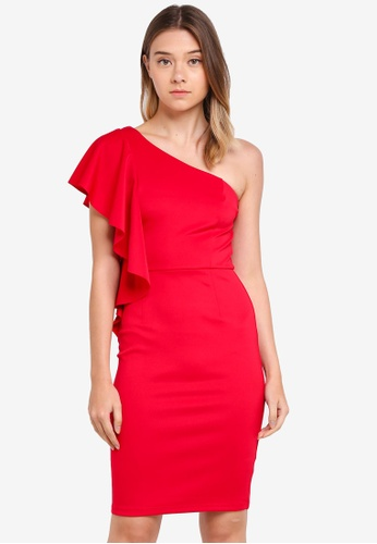 Dorothy Perkins red One Shoulder Ruffle Pencil Dress F09D6AA734CC8EGS_1