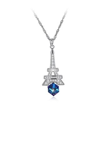 Glamorousky blue 925 Sterling Silver Fashion Tower Pendant with Blue Austrian Element Crystal and Necklace 9C0B3ACF0A4657GS_1