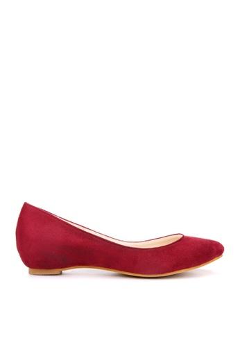 KissXXX 紅色 小心機美腿效果內增高2.5CM淺口尖頭平底休閒鞋 KI603SH09MTNTW_1